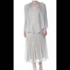 Formal Dress Plus Size 18 Beige 2pc Jacket & Dress